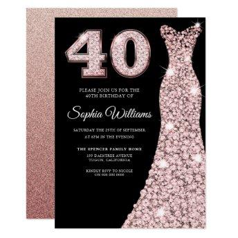 rose gold Sparkle Dress 40th Birthday Party Black Invitation