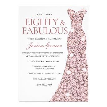 Rose Gold Sparkle Dress 80th Birthday Invite