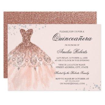 Rose Gold Sparkle Dress Quinceanera