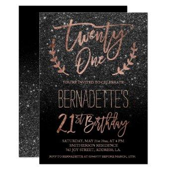 Rose gold typography black glitter 21st Birthday Invitation