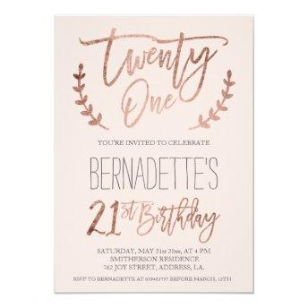 Rose gold typography feathers blush 21st Birthday