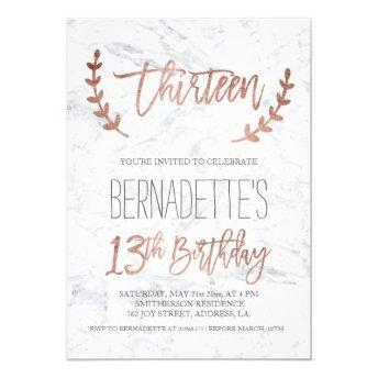 Rose gold typography feathers marble 13th Birthday