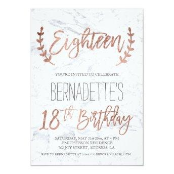 Rose gold typography feathers marble 18th Birthday