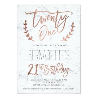 Rose gold typography feathers marble 21st Birthday