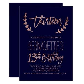 Rose gold typography feathers navy 13th Birthday