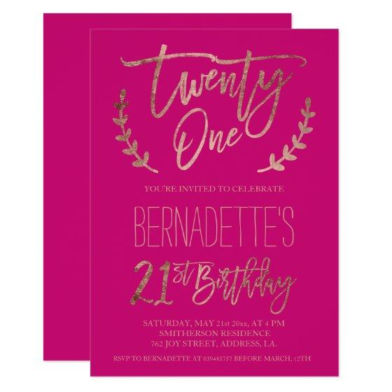 190 Rose Gold Typography Neon Pink 21st Birthday Invitation
