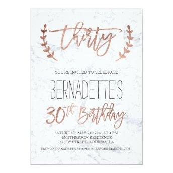 Rose gold typography white marble 30th Birthday