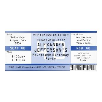 Royal Blue 40th Birthday Party Ticket Invitation
