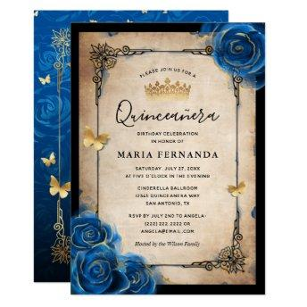 Royal Blue Gold Watercolor Elegant Quinceanera Invitation