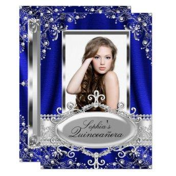 Royal Blue Pearl Silk Vintage Glamour Quinceanera
