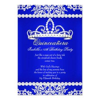 Royal Blue Quinceanera 15th Birthday Party Tiara