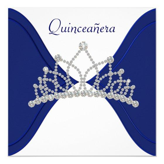 Royal Blue Quinceanera Birthday Party Invitations