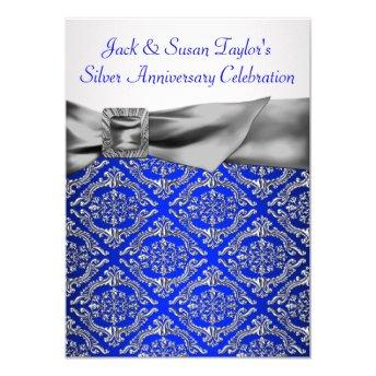 Royal Blue Silver Damask Silver 25th Anniversary Invitation