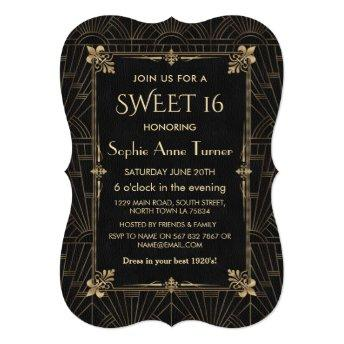 Royal Fleur-de-Lis Art Deco 1920s SWEET 16 Invitation