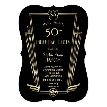 Royal Gold Art Deco Monogram Birthday Party Invitation