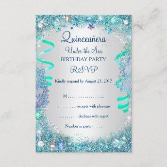 RSVP Blue Under The Sea Quinceanera 15th Birthday