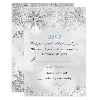RSVP Teal Blue Winter Wonderland Birthday