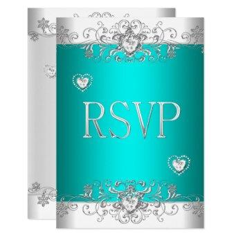 RSVP Teal Silver White Diamond Hearts