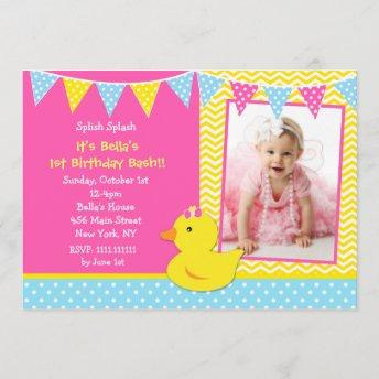 Rubber Ducky Duck Photo Birthday Party Invitation