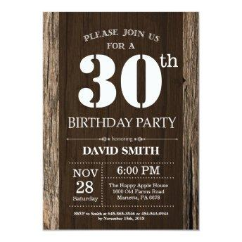 Rustic 30th Birthday Invitation Vintage Wood