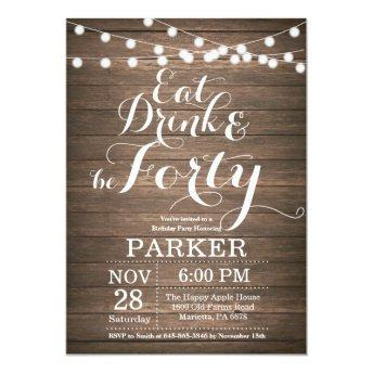 Rustic 40th Birthday Invitation Wood