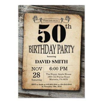 Rustic 50th Birthday Invitation Vintage Wood