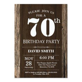Rustic 70th Birthday Invitation Vintage Wood