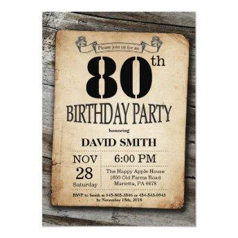 Rustic 80th Birthday Invitation Vintage Wood