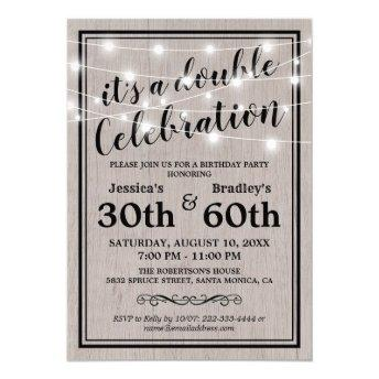 Rustic Adult Joint Birthday Party Invitation