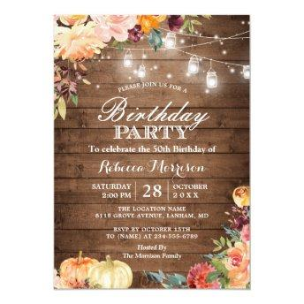 Rustic Autumn Pumpkin Floral Birthday Party Invitation