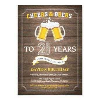 Rustic Beer Surprise 21st Birthday Invitation