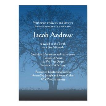 Rustic Blue Tree of Life Bar Mitzvah