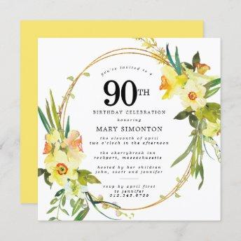 Rustic Boho Yellow Daffodil 90th Birthday Invitation