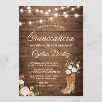 Rustic Boots Cowgirl Quinceañera 15th Birthday Invitation