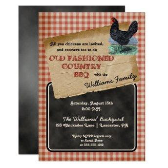 Rustic Chicken Backyard Cookout BBQ Picnic Invitation