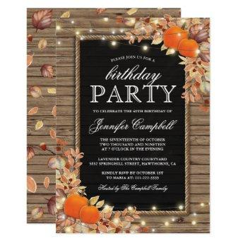 Rustic Country Autumn Fall Birthday Party Invitation