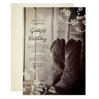 Rustic Cowboy Boots Western Birthday Party Invitation
