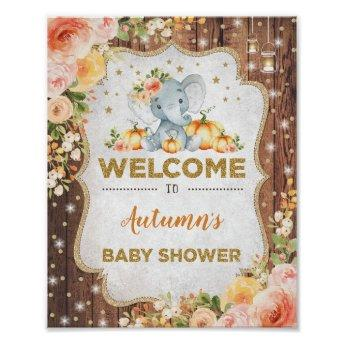 Rustic Fall Floral Elephant Baby Shower Welcome Poster