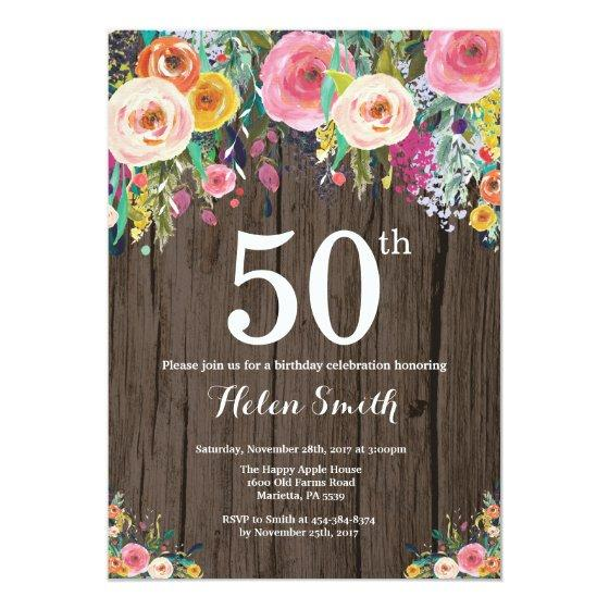 190 Rustic Floral 50th Birthday Invitation