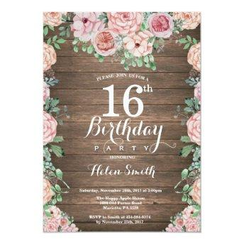 Rustic Floral Pink Peonies 16th Birthday Invitation