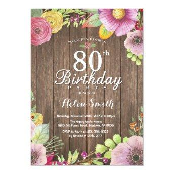 Rustic Floral Surprise 80th Birthday