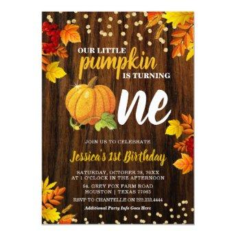 Rustic Glitter Pumpkin Fall Neutral 1st Birthday Invitation