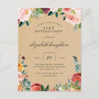 Rustic Kraft Burgundy Blush Floral Birthday Party Invitation PostInvitation