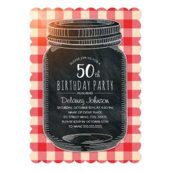 Rustic Mason Jar Picnic 50th Birthday Party Invitation