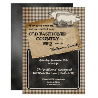 Rustic Pigs Pork Backyard Cookout BBQ Picnic Invitation