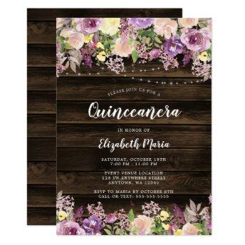 Rustic Purple Floral String Lights Quinceanera Invitation