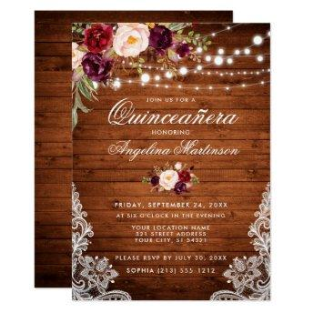 Rustic Quinceanera Wood Lights Lace Floral Invitation