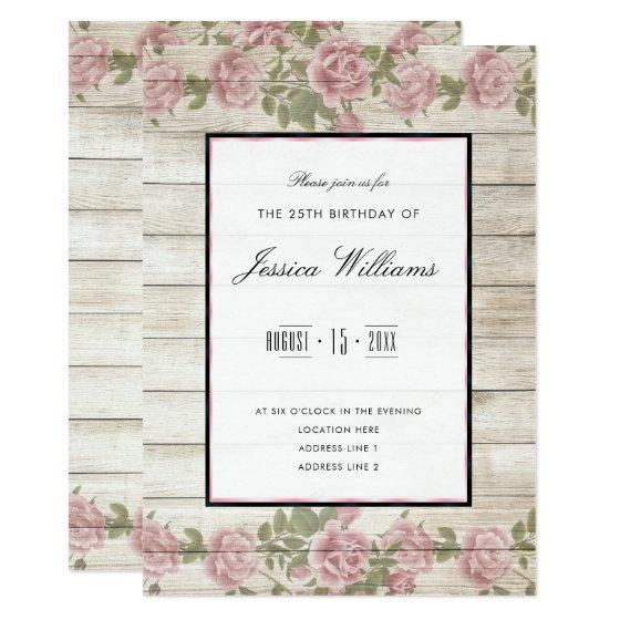 227 Rustic Roses Wood Framed 25th Birthday Party Invitation