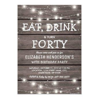 Rustic String Lights Forty Birthday Party | 40th
