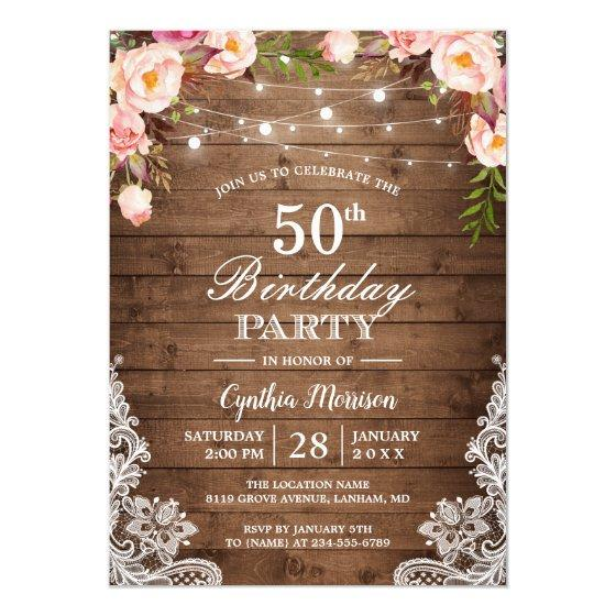 Rustic String Lights Lace Floral Birthday Party Invitation